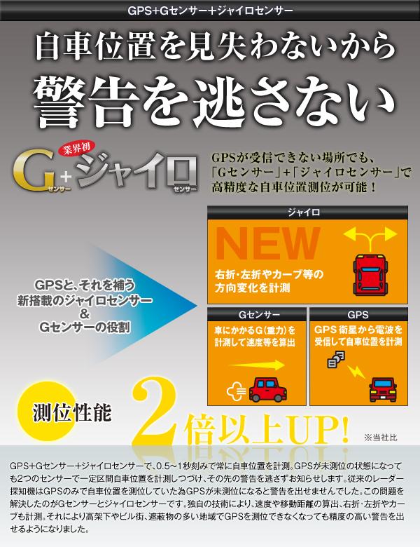 GPS+Gセンサー+ジャイロセンサーで自車位置測位性能が更に進化!